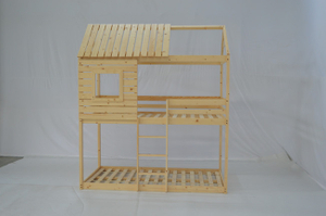 Lit superposé Wood House pour enfant